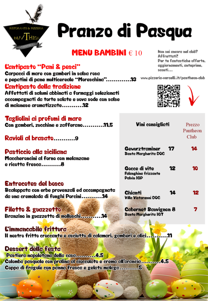menu Pasqua Pantheon Vercelli